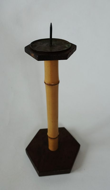 Japanese Vintage Folk Craft Candle Stand Made of Bamboo & Wood
