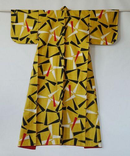 Japanese Vintage Textile Meisen with Geometric Design Yellow