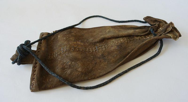 Japanese Antique Bag Made of Deer Skin with Asa Indigo Rope