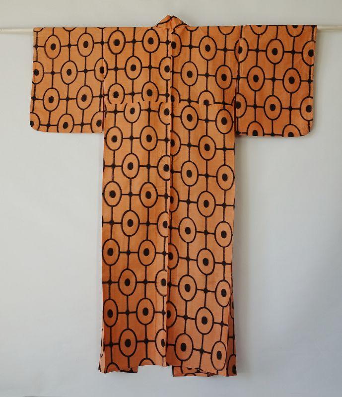 Japanese Vintage Meisen with Geometric Pattern Orange