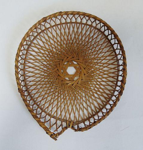 Japanese Vintage Bamboo Tray for Uchiwa Handmade