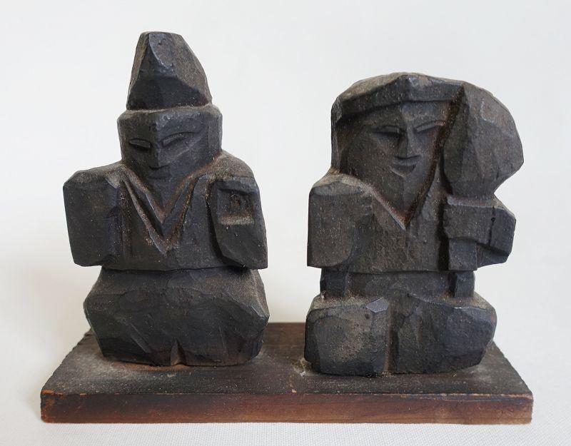 Japanese Antique Mingei Wood Sculpture Ebisu and Daikoku
