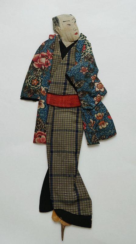 Japanese Antique Textile Oshi-e Doll  Made of European Print-4