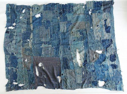Japanese Antique Textile Boro Hand-Spun Cotton Vegetable indigo