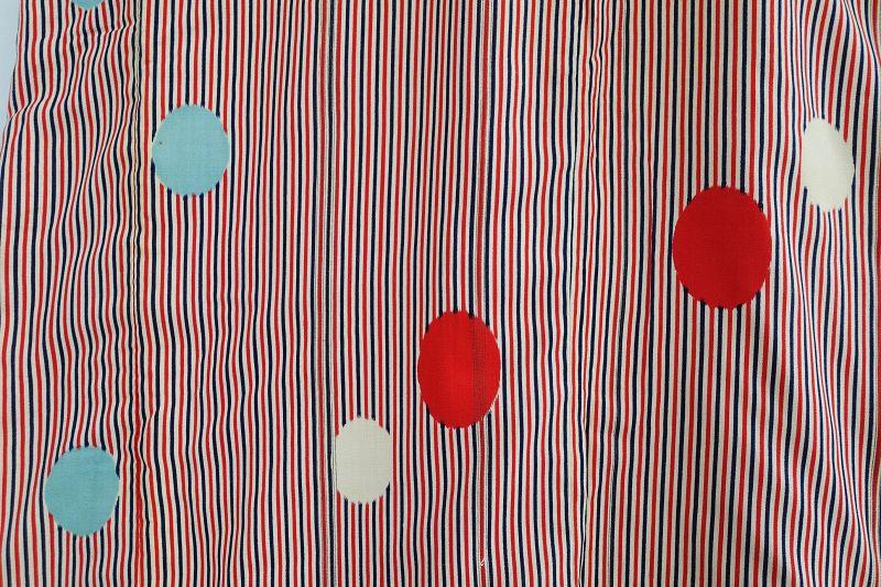 Japanese Vintage Textile Kimono with Geometric Pattern Cynthetic