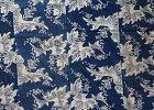 Japanese Antique Textile Cotton Katazome Futonji with Flower Motif