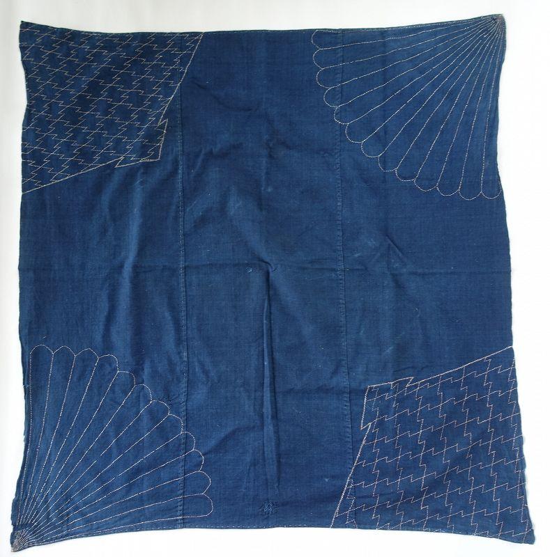 Japanese Antique Textile Cotton Indigo Furoshiki with Sashiko