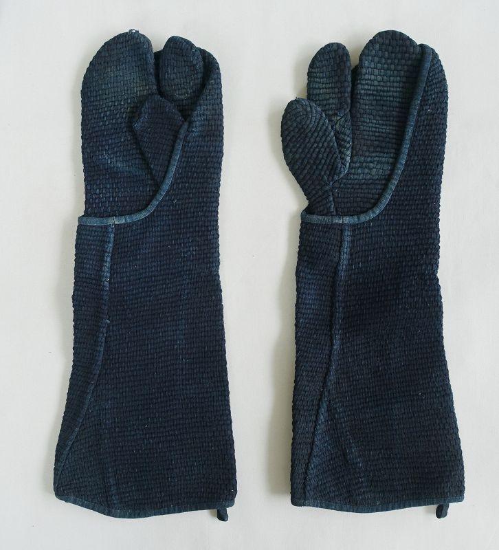 Japanese Antique Textile Sashiko Fireman's Gloves Indigo