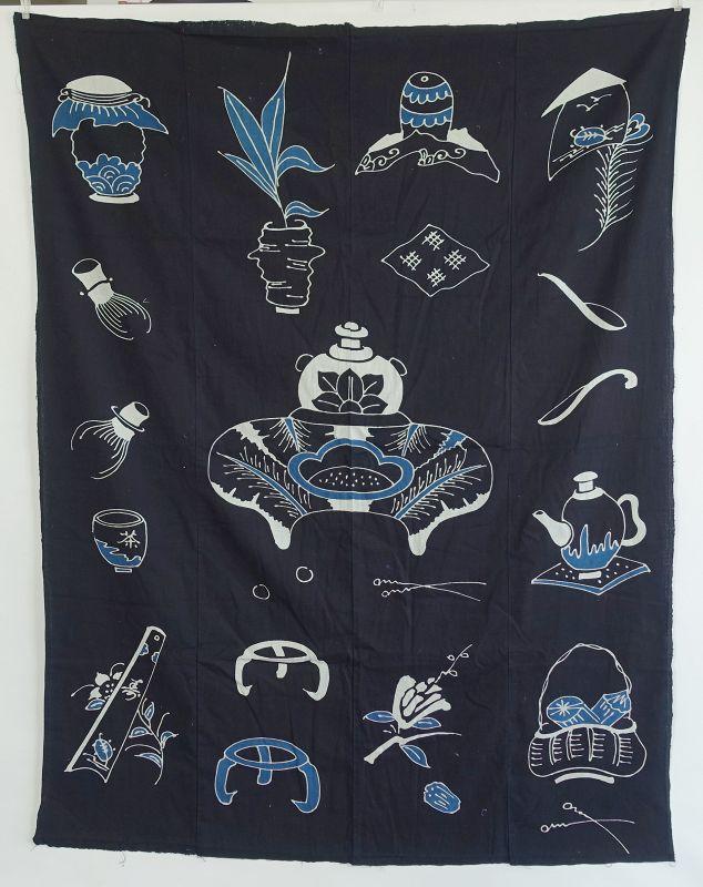 Japanese Antique Textile Tsutsugaki Futonji with Tea Utensil Motif