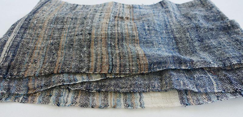 Japanese Vintage Textile Long Zanshi-ori Cloth Vegetable Dye