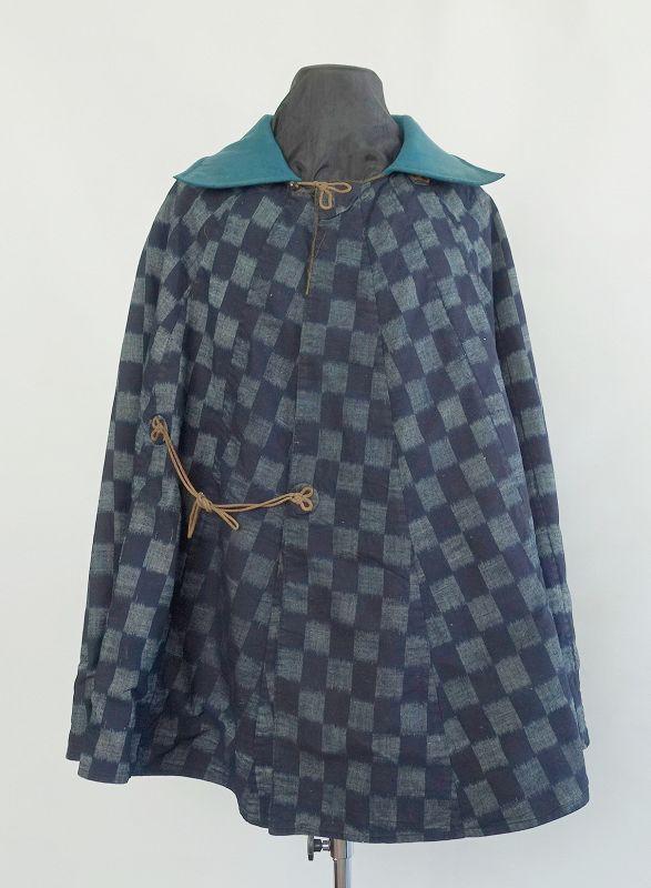Japanese Antique Textile Kappa with Kasuri and Stripes