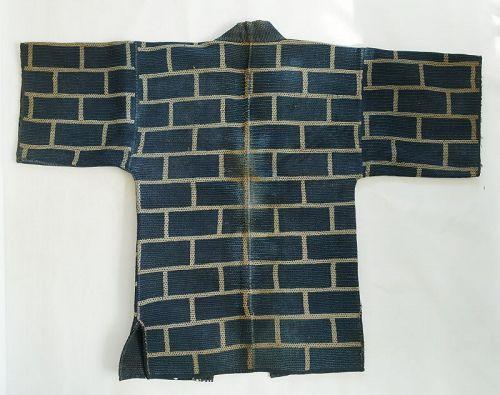 Japanese Antique Textile Sashiko Kajibanten Fireman's Coat