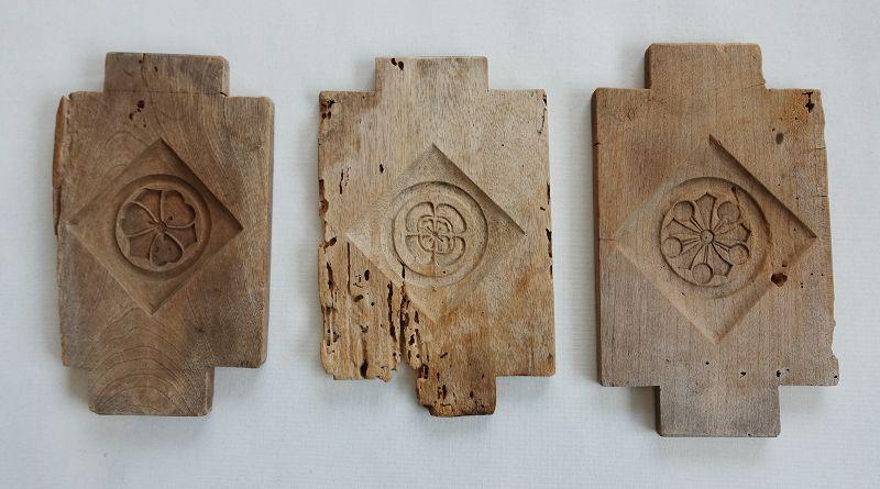 Japanese Antique Wood Kashi-gata Mold for Sweets Family Crest