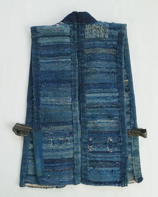 Japanese Vintage Textile Indigo Sakiori Sodenashi Vest