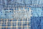 Japanese Antique Textile Small Boro Vegetable Indigo & Brown Cotton