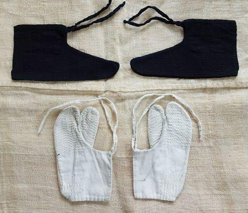 Japanese Vintage Textile Cotton Sashiko Tabi and Kokake