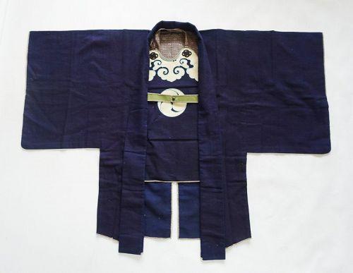 Japanese Antique Textile Edo Kaji-haori of Samurai Made of Wool
