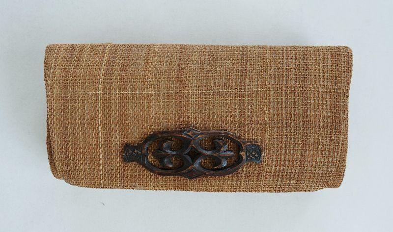 Japanese Vintage Ainu Folk Craft Purse Made of Ohyo Attush