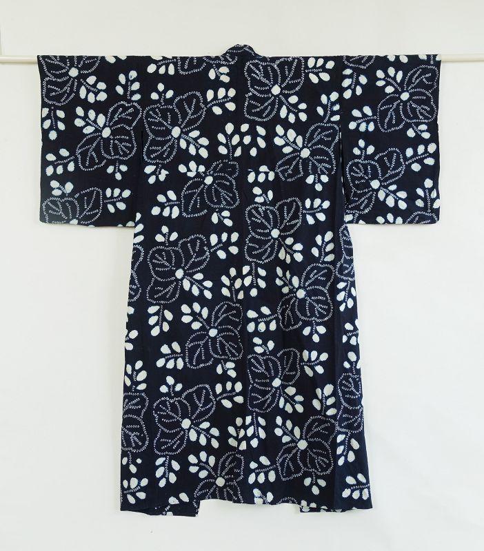 Japanese Vintage Textile Cotton Kimono with Shibori Pattern