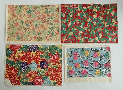 Japanese Vintage Woodblock Print Washi Chiyo-gami with Autumn Motif