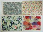 Japanese Vintage Washi Chiyo-gami Woodblock Print with Flower Motif