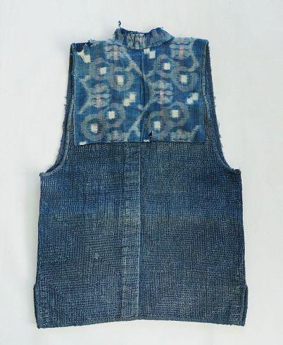 Japanese Vintage Textile Indigo Sashiko Sodenashi Boro