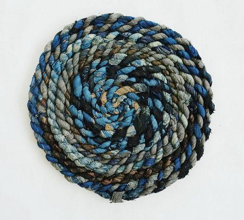 Japanese Vintage Textile Zabuton Cushion Made of Recycled Rope