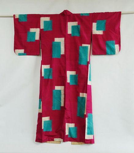 Japanese Vintage Textile Meisen Kimono with Kasuri Block Pattern.