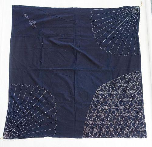 Japanese Vintage Textile Cotton Furoshiki with Sashiko Indigo