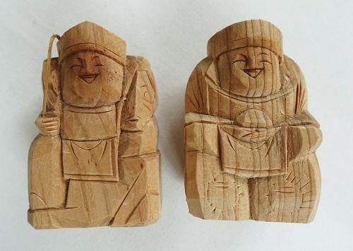 Japanese Vintage Wood Sculpture Miniature Ebisu and Daikoku