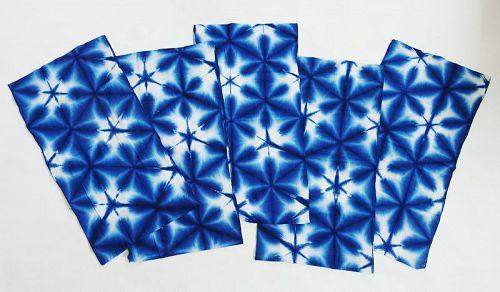 Japanese Vintage Textile Sekka Shibori Indigo Diaper 5 Pieces