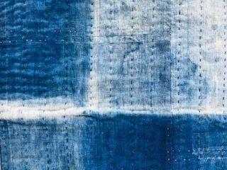 Japanese Vintage Textile Sashiko Rug Made of Indigo Dye Cotton