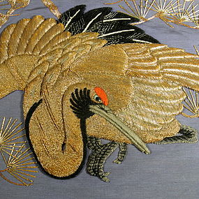 19th C Japanese Gold Crane Wall Hanging Textile