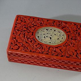 Chinese Hand Carved Cinnabar Box with Jade Insert