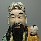 Daoist Star God Lu Xing Porcelain Statue, Qing, Marked
