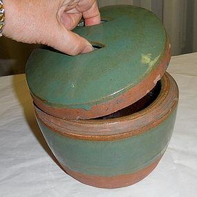 Chinese Pottery Celadon Green Glaze Jar Pot with Lid