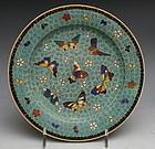 Japanese Totai Meiji Cloisonne Butterfly Kinkozan Plate