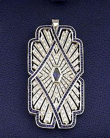 18K Art Deco White Gold Sapphire Diamond Pendant