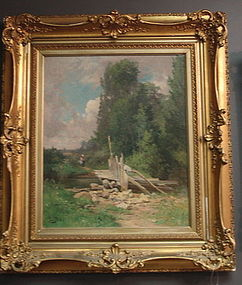 Oil Painting French Landscape by Edouard Pail, 19th C