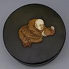 Japanese Black Round Tea Box with Figure