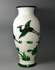 Green and White Peking Glass Vase with Cranes