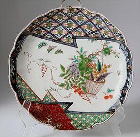 Meiji Japanese Porcelain Green Imari Dish Fruit