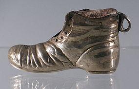 English Sterling Silver Pauper Boot Shoe Match Striker