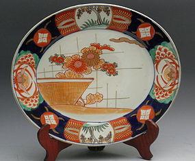 Japanese Old Imari Oval Plate Flower Edo Meiji