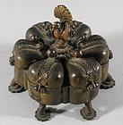Antique Hindu Indian Peacock Kankavati Bronze Kumkum Box Container