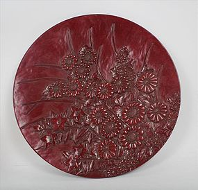 Large Japanese Carved Kamakura Bori Wood Red  Lacquer Charger