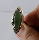 Large Green Jade Jadeite Marquise Cut 14 Kt Gold Cocktail Ring