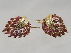 Natural Ruby and Diamond Pierced Earrings in 14 kt Yellow Gold