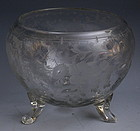 Rare Hawkes American 3 Footed Rose Bowl Etched Cut Crystal