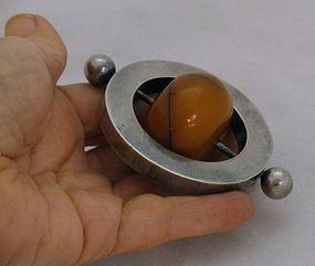 Rare Modern Scandinavian Sterling Silver Amber Bead Baby Teething Ring